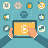 Vector video marketing concept in flat style. Video player on the screen of tablet pc - infographics design element Stock Image
