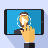 Vector video marketing concept in flat style - video player on the screen of tablet pc - infographics design element Royalty Free Stock Images
