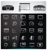 Vector video projector features and specifications Stock Photography