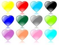 Vector vidrioso de los corazones Fotografía de archivo
