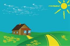 Vector-viejo la casa sola stock de ilustración