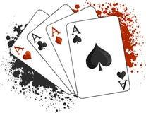 Vector vier Spielkarten des Aspokers auf weißem Hintergrund vektor abbildung