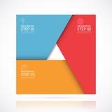 Vector vierkant infographic malplaatje in materiële stijl Bedrijfsconcept met 3 stappen, delen, opties Royalty-vrije Stock Afbeelding