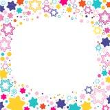 Vector vierkant kader met gekleurde sterren David op de witte achtergrond, fonkelingen gekleurde symbolen - de ster schittert, st Stock Afbeelding