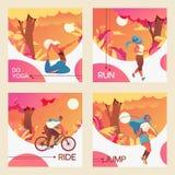 Vector vierkante kaarten met jonge meisjes bycicle, het doen van youga, het springen met touwtjespringen en het aanstoten die ber royalty-vrije illustratie