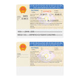 Vector Vietnam international passport visa sticker template in flat style Royalty Free Stock Images