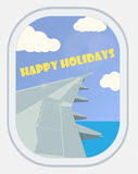 Vector. View from the airplane window. Greeting Card: Happy Holi Stock Photography