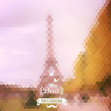 Vector view on Eiffel Tower, Paris, France. Blur background made Royalty Free Stock Photography