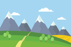 Vector view of mountain landscape with trees and field under blue sky. With clouds Royalty Free Stock Photo