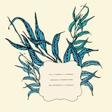 Vector vignette background with blue leaves Stock Photo