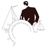 Vector vignette. Captain at helm of yacht Royalty Free Stock Photos