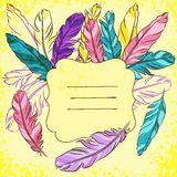 Vector vignette with colored feather Stock Photo