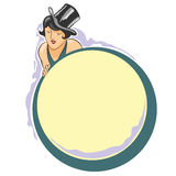 Vector vignette. Girl in hat with space for text Stock Images