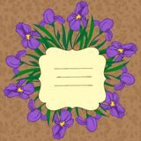 Vector vignette with iris flowers. Background with vignette and iris Royalty Free Stock Photos