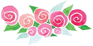 Vector vignette watercolor rose flowers green Stock Photo