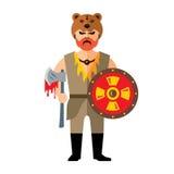 Vector Viking. Flat style colorful Cartoon illustration. Stock Image