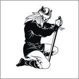 Vector Viking warrior with sword Cartoon Illustration. Barbarian bowed his knee. Royalty Free Stock Images