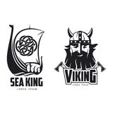 Vector vikings icon logo simple set flat isolated Royalty Free Stock Photography