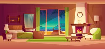 Vector villa interior. Bedroom of tropical house. Vector night panorama of villa interior, window with seaside. Light from fireplace. Bedroom of tropical hotel Stock Images