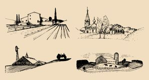 Vector village landscapes illustrations set. Hand drawn russian countryside. Sketches of farm villa,homestead in fields. Stock Photography