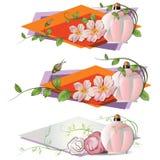 Vector a vinheta romântica com flores e um perfume Imagem de Stock