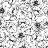 Vector vintage anemone seamless pattern. Hand drawn illustration Stock Photography
