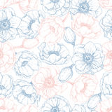Vector vintage anemone seamless pattern in trendy colors 2016. R. Ose quartz and serenity. Great for wedding invitations, birthday, valentine's, save the date Stock Image