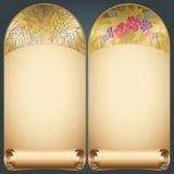 Vector vintage art nouveau floral rose frame on scroll Stock Image