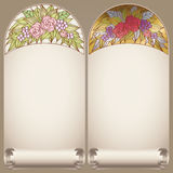 Vector vintage art nouveau floral rose frame on scroll Royalty Free Stock Image