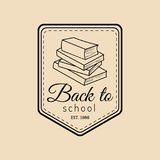 Vector vintage Back to school logo. Retro emblem with pupil stack of books. Knowledge day design concept. Stock Photo