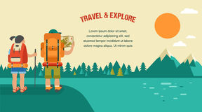 Vector vintage background with backpackers, forest Royalty Free Illustration
