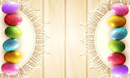 Vector vintage background with a circle of lace and easter eggs Stock Image