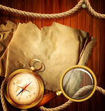 Vintage background with compass, magnifying Stock Photography