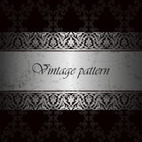 Vector vintage background for insert text, luxurious damask floral pattern in silver, template with scratched metal. Vector vintage background for insert text Royalty Free Stock Photo