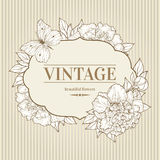 Vector vintage background with peony and butterfly. Royalty Free Stock Photography