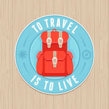 Vector vintage badge - flat icon. Travel concept Stock Photos