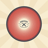 Vector vintage badge, sticker, sign with straight razor for barbershop Royalty Free Stock Image