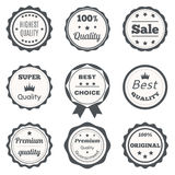 Vector vintage badges. Best choice, premium quality, highest qua. Lity and sale. Vector illustration Royalty Free Stock Photo