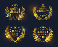 Vector vintage badges collection Best choice. Best price, Original Product, Money Back Guarantee. Shining glossy Premium Quality sign on black background Royalty Free Illustration