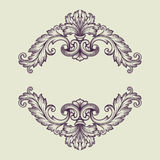 Vector vintage Baroque border frame design. Vintage Baroque scroll design frame engraving  acanthus floral border pattern element retro style filigree vector Stock Photo