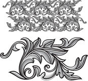 Vector vintage baroque engraving floral ornament - endless patte Royalty Free Stock Images