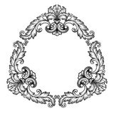 Vector vintage Baroque frame scroll ornate. Vintage Baroque scroll design frame engraving  acanthus floral border pattern element retro style filigree vector Stock Photo