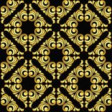 Vector vintage baroque seamless pattern in golden style on black background Stock Photography