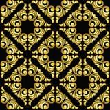 Vector vintage baroque seamless pattern in golden style on black background. Vector vintage baroque seamless pattern Stock Photography