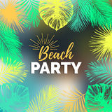 Vector vintage beach party illustration. Exotic palm leaves background. Hand sketched jungle foliage poster. Royalty Free Stock Photos