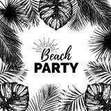 Vector vintage beach party illustration. Exotic palm leaves background. Hand sketched jungle foliage poster. Royalty Free Stock Images