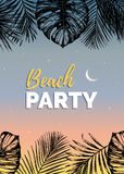 Vector vintage beach party illustration. Exotic palm leaves background. Hand sketched jungle foliage poster. Stock Images