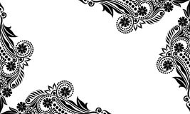 Vector vintage Beautiful black and white flowers and leaves isolated Stock Photos