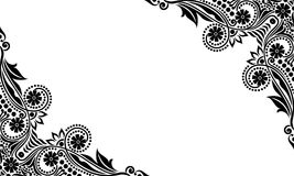 Vector vintage Beautiful black and white flowers and leaves isolated Royalty Free Stock Images