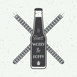 Vector vintage beer logo with hand lettering fun motivation quote Stock Photos